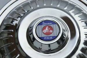 """VESPA Rally LVB GS VBB VBC 10"""" Stainless Steel SPARE Wheel Cover Trim Red Scoot"""
