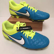 NIKE Tempo Rio II FG Womens Soccer Cleats Turquoise/Neon Yellow 8.5 New