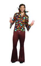 Flower Power Mens Fancy Dress Costume Outfit Retro Hippie Hippy 60S 70S