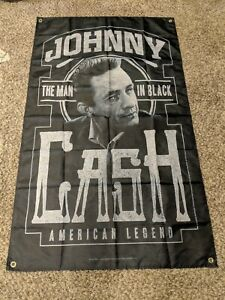 Johnny cash poster flag huge 3'x5' suoerfast shipping.