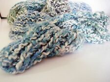Green Blue and Cream Handknit Scarf