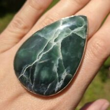 Green Ophite (Serpentine) 925 Silver Plated Ring! Bright Lightning! Size 7.5