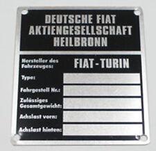"""Typenschild  """" Fiat Heilbronn""""  , car identification plate 70 x 80 mm , NEW"""