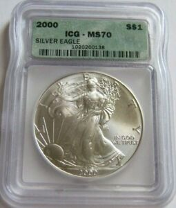 2000 ICG MS70 AMERICAN SILVER EAGLE COIN ~Tough Year in MS70 Grade~