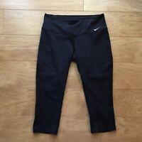 Nike Dri-Fit Check Swoosh Logo Capri Leggings Active Yoga Pants Women's Size M