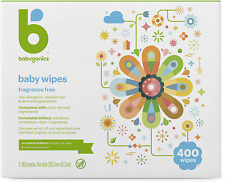 Babyganics Baby Wipes, Unscented, 400 Count (4 Packs of 100 Wipes), Packaging Ma