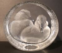 Vintage Mats Jonasson Carved Lead Glass Crystal  Ducklings Paperweight