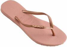 Havaianas Slim Logo Metallic Rose Nude Gold Womens Flip Flops