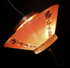Vtg Deco Era Semi Flush Glass Shade Chandelier Ceiling Fixture Pendant 40's