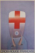 """""""CROIX-ROUGE FRANCAISE"""" Affiche originale entoilée FOLON 1981 44x64cm"""