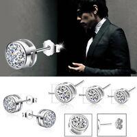 1 Par Mujer Hombre Pendientes De Botón Plata Aretes Diamante Cristal Earring