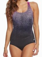 Speedo Womens Swimwear Pink Purple 8 Ultraback Powerflex Eco Swimsuit $88 916