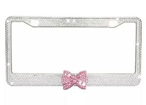 Clear 7 Rows Bling Diamond Crystal License Plate Frame With Pink Bow Tie