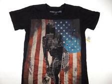 Ring Of Fire Men's Black USA Flag Short Sleeve Crew Neck Shirt NWT Size S TS634
