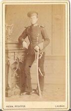 CDV Foto Soldat / Ulan mit Epauletten - Lauban Lubań um 1880