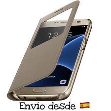 Funda Libro Flip Ventana S-WIEW Samsung Galaxy S7 Gold/Dorado