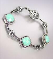 BALINESE Silver Cable Faceted Turquoise Stone Links Magnetic Clasp Bracelet