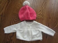 BABY GAP Girl's 0-3 Ivory Cardigan Sweater Pink 0 6 Knit Hat Pom EUC