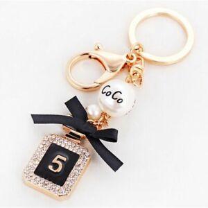 Luxury Key Chain Crystal Perfume Bottle Pearl Handbag Wallet Pendant Car Keyring