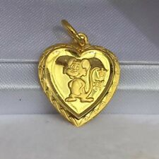Zodiac 24K Solid Gold Mouse Animal Sign Heart Shape Charm/ Pendant, 2.29 Grams