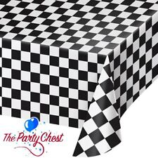 GRAND PRIX BLACK AND WHITE CHECK FLAG TABLECOVER F1 Racing Party Tableware 39197