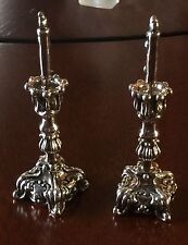 Pair of Rococo 3 1/4 inch Dollhouse miniature 925 sterling silver candlesticks c