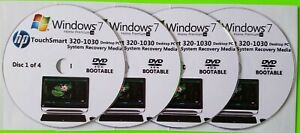 HP TouchSmart 320-1030 Factory Recovery Media 4-Discs Set / Windows 7 Home 64bit