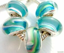 5PCS Silver Single Core Murano Lamp Glass Beads fit European Charm Bracelet A045