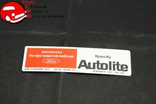 71 Mustang 351c Witho Ram Air Autolite Air Cleaner Service Instructions Decal Fits Mustang