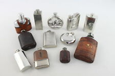 More details for 12 x antique / vintage breweriana hip flasks inc. leather, pewter, advertising