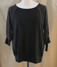 Alyx Woman, 2X, Black/Silver Metallic Banded Knit Top, New with Tags