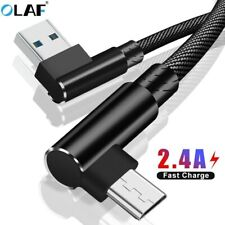 90° Micro USB Fast Charging Cable Braided Data Cable For iPhone Android Type C