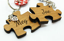 Personalised Valentine Anniversary Wedding Solid Wood Jigsaw Keyrings with charm