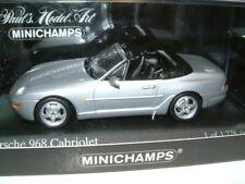 1/43 PORSCHE 968 CABRIOLET IN METALLIC SILVER 1994, MINICHAMPS.