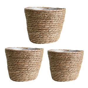 Woven Rattan Natural Plant Basket Lining Planter Pots Flowerpot Home Decor