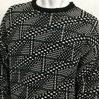 VTG JANTZEN Textured Sweater Geometric Sz XL PullOver Black White Blue USA Made