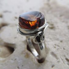 Size 9 (EU Size 60) Cognac / Brown BALTIC AMBER Ring, 925 STERLING SILVER #1846
