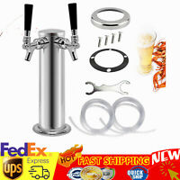 Double Stainless Steel Tower Beer Tap Two Faucet Draft Keg Kegerator Silver USA