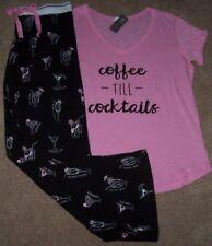 NWT PJ Salvage Black/Pink COFFEE TIL COCKTAILS Top/Pants Pajama Set L MARGARITA