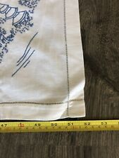 New listing Vintage 52x52 Inch Embroidered Handmade Luncheon Table Cloth Blue Scenic