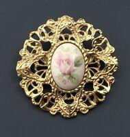Vintage rose  flower cameo brooch gold tone Metal