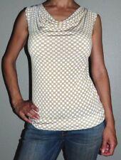 New Woman's XS Banana Republic White Yellow Geometric Print Cowl Neck Top Shirt