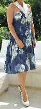 LaRochelle Kleid 50ties Retro Blau Weiß Stretch Gr. 40 + Ring