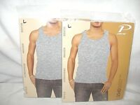 Men's PACER Ribbed Fitted Muscle Tank Tops Size Large Gray  X2