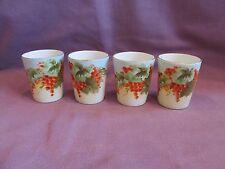 Set-4 Vienna Austria Porcelain Cups Grape Gooseberry Clusters & Leaves Gold Rim