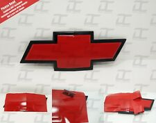 (2) Silverado Gloss Red Universal Chevy Bowtie Vinyl Sheets Emblem Decal Cover
