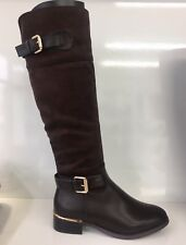 WOMENS LADIES FAUX LEATHER SUEDE BROWN KNEE HIGH LOW BLOCK HEEL BOOTS SIZE 6