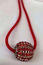 Single Big Rhinestone bead Cord Pendant Necklace