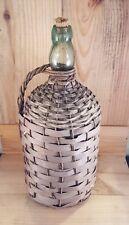 Vintage DEMIJOHN GREEN APPLIED BLOB TOP WICKER Wrapped Whiskey Bottle BULB NECK