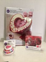 Valentines Day Wilton Lot Baking Cups Heart Cookie Cutter Heart Treat Boxes